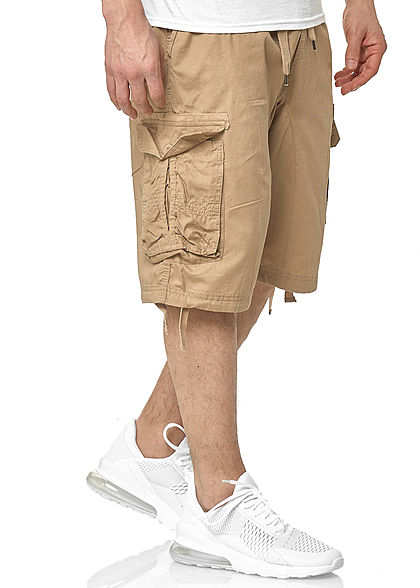 Southpole Heren Cargo Jogger Shorts 6-Pockets deep khaki