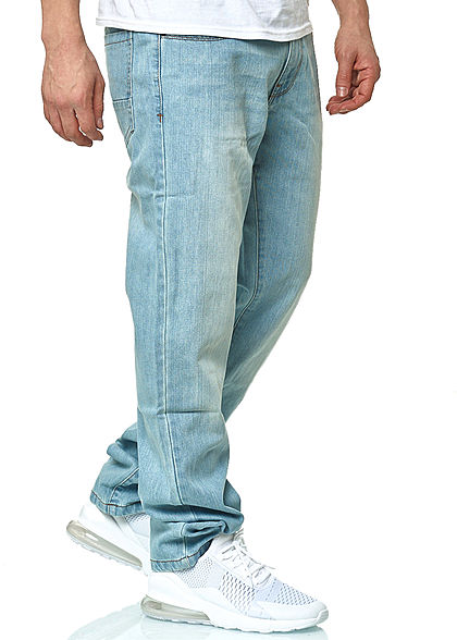 Seventyseven Lifestyle Herren Relaxed Fit Jeans Hose 5-Pockets light wash denim