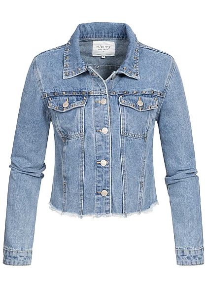 Hailys Damen Jeans Jacke Deko Nieten 4-Pockets Fransen medium blau denim - Art.-Nr.: 20031218