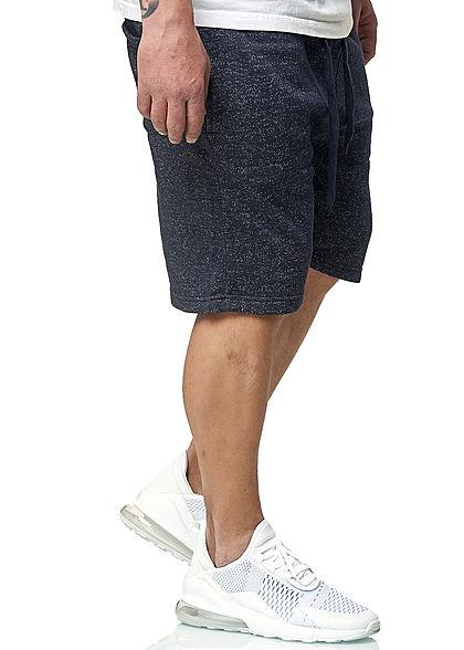Brave Soul Herren Melange Sweat Shorts 3-Pockets navy blau
