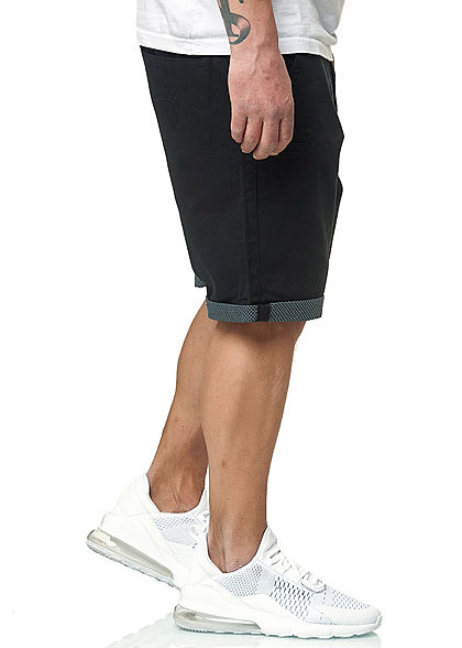 Brave Soul Herren Bermuda Jeans Shorts 5-Pockets Beinumschlag navy blau