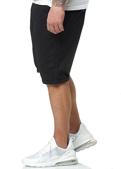 Brave Soul Herren Chino Shorts 4-Pockets Punkte Muster Beinumschlag navy blau weiss