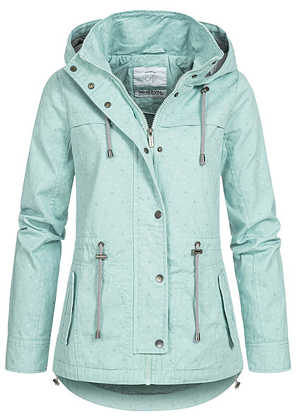 Sublevel Damen Übergangs Parka Jacke Kapuze Dreiecks Muster 2-Pockets misty mint grün - Art.-Nr.: 20031257
