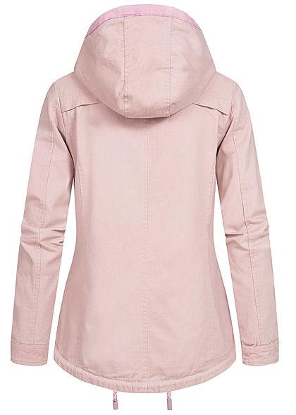 Urban Surface Damen Übergangs Jacke 2-Pockets abnehmb. Kapuze greyish rosa