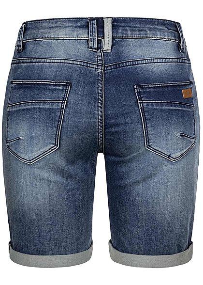 Urban Surface Damen Bermuda Jeans Shorts Knopfleiste 5-Pockets dunkel blau denim