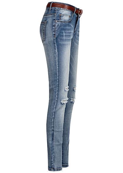 Seventyseven Lifestyle Damen Skinny Jeans Hose 5-Pockets inkl. Gürtel Destroy Look blau