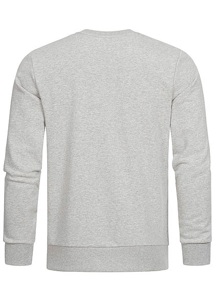 Jack and Jones Herren Crew Neck Sweater Pullover Logo Print hell grau melange