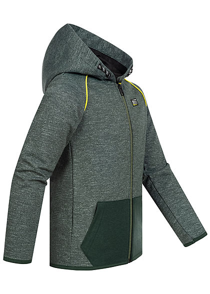 Jack and Jones Junior Sweat Zip Hoodie Jacke 2-Pockets Kapuze spruce grün melange