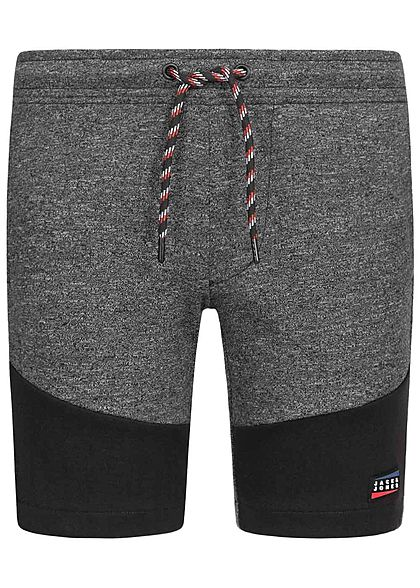 Jack and Jones Junior Melange Sweat Shorts 2-Pockets Tunnelzug pirate schwarz - Art.-Nr.: 20041725