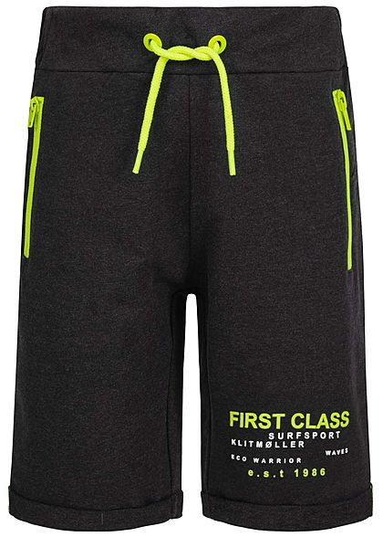 Name It Kids Jungen Melange Sweat Shorts 2-Zip-Pockets Tunnelzug schwarz neon gelb - Art.-Nr.: 20041727