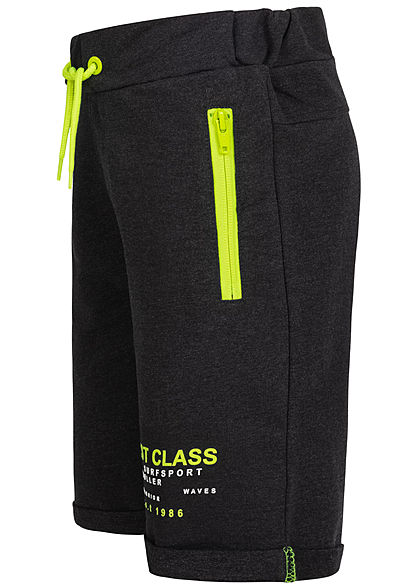 Name It Kids Jungen Melange Sweat Shorts 2-Zip-Pockets Tunnelzug schwarz neon gelb