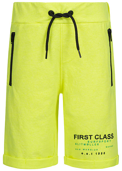 Name It Kids Jungen Melange Sweat Shorts 2-Zip-Pockets Tunnelzug safety neon gelb - Art.-Nr.: 20041728