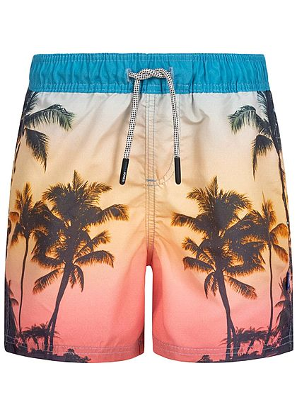 Jack and Jones Junior Bade Shorts 2-Pockets Tropical Print Tunnelzug alaskan blau - Art.-Nr.: 20041729