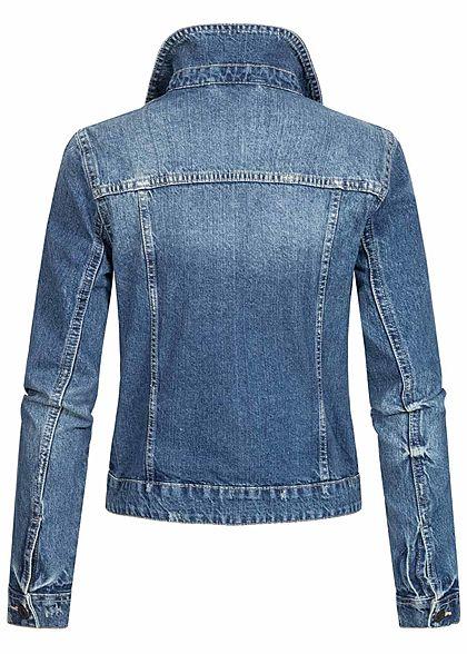 Noisy May Damen NOOS Jeans Jacke 4-Pockets leichter Crash Look medium blau denim
