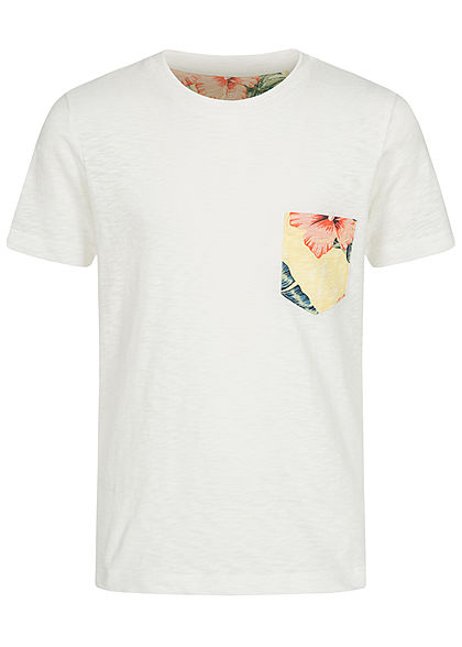 Jack and Jones Junior T-Shirt Canvas Look mit Tropical Print Brusttasche cloud d. weiss - Art.-Nr.: 20042067