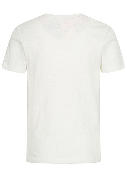 Jack and Jones Junior T-Shirt Canvas Look mit Tropical Print Brusttasche cloud d. weiss