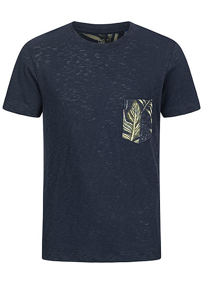 Jack and Jones Junior T-Shirt Canvas Look mit Tropical Print Brusttasche blazer navy blau - Art.-Nr.: 20042068