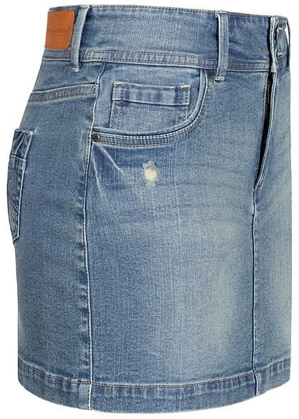 Seventyseven Lifestyle Damen Mini Jeans Rock Destroy Optik 5-Pockets medium blau denim