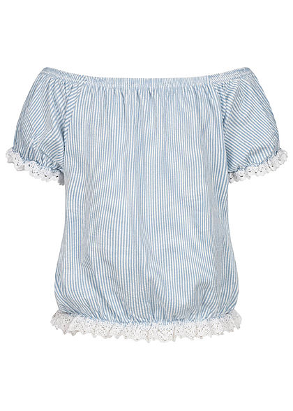 Urban Surface Damen Carmen Shirt Häkelbesatz Streifen Muster weiss blau