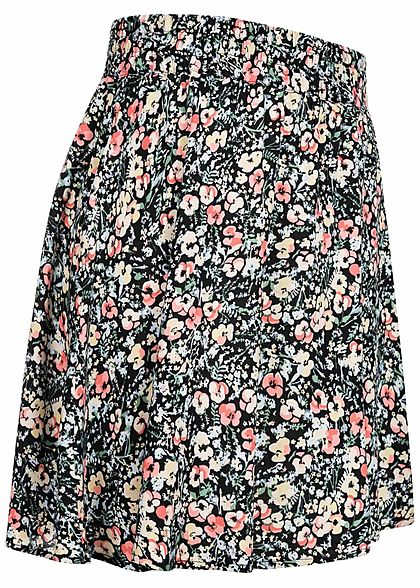 Vero Moda Damen Mini Falten Rock Floraler Print schwarz multicolor
