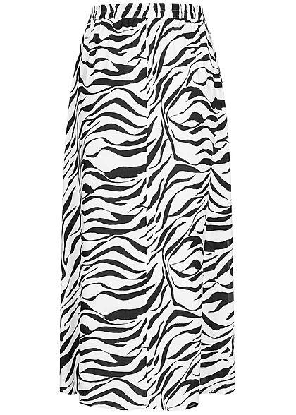 Vero Moda Damen Longform Rock Schlitze seitlich Zebra Print schwarz weiss