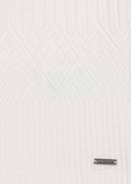 Zabaione Damen V-Neck T-Shirt Struktur Stoff off weiss