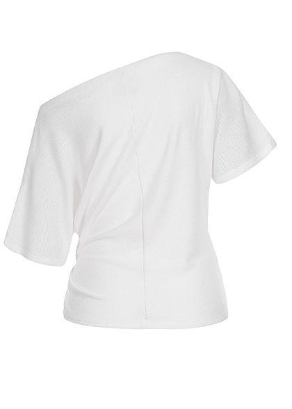 Fresh Lemons Damen One Shoulder Shirt Bindedetail vorne weiss