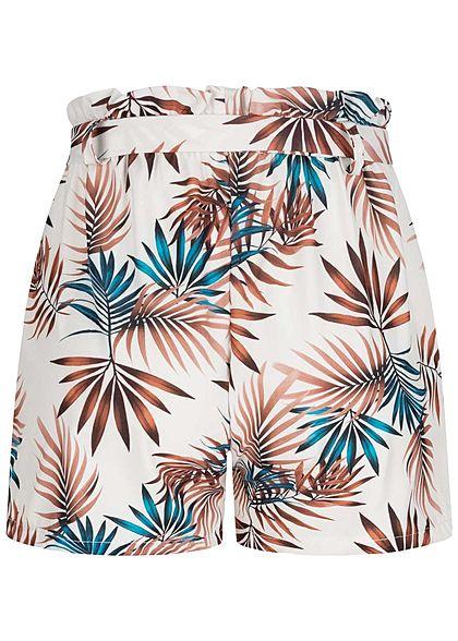 Fresh Lemons Damen Paperbag Shorts inkl. Bindegürtel Tropical Print weiss
