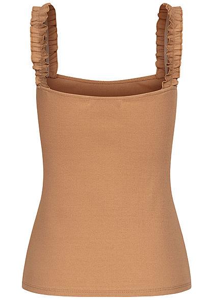 Styleboom Fashion Damen Ribbed Top mit Rüschen Träger camel braun