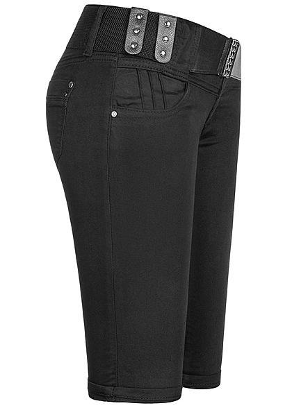 Seventyseven Lifestyle Damen Capri Jeans Hose inkl. Gürtel 4-Pockets schwarz