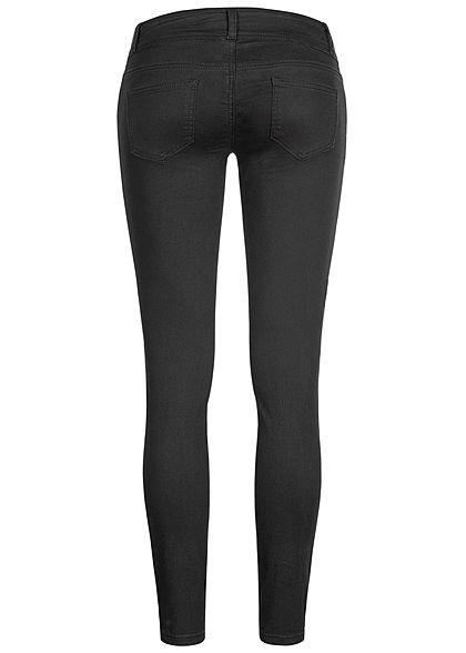 Seventyseven Lifestyle Damen Skinny Jeans Hose 5-Pockets Low Waist schwarz