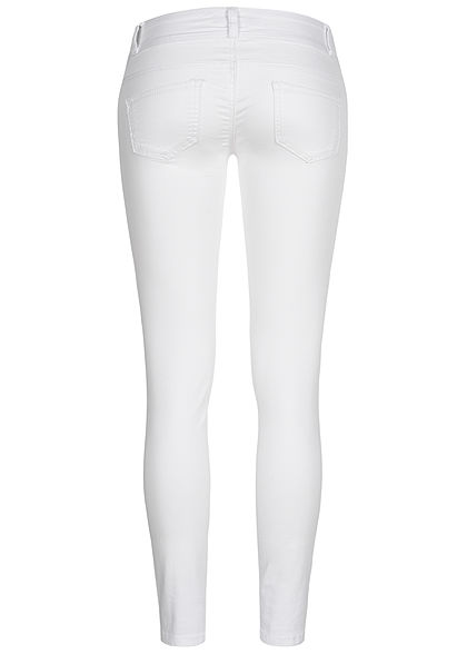 Seventyseven Lifestyle Damen Skinny Jeans Hose 5-Pockets Low Waist weiss