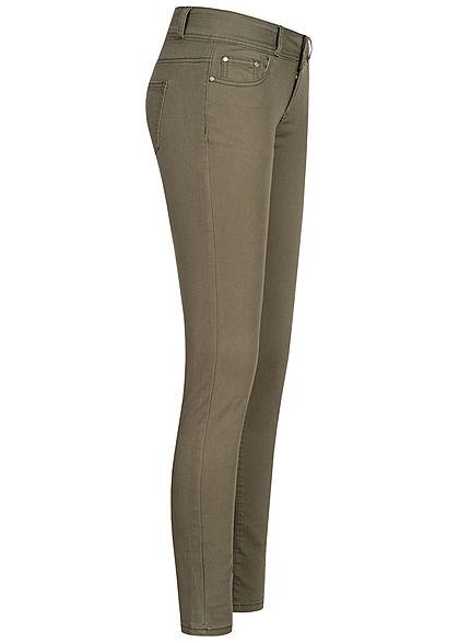 Seventyseven Lifestyle Damen Skinny Jeans Hose 5-Pockets Low Waist hell khaki grün
