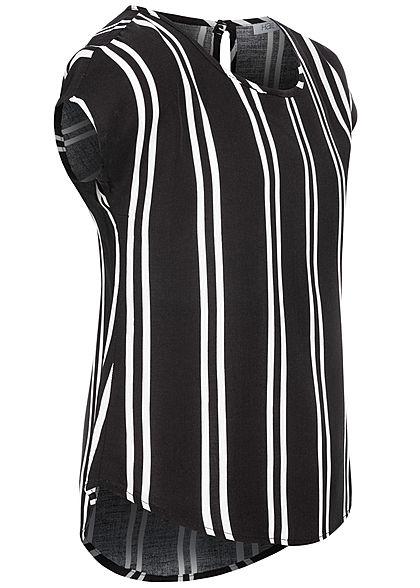 Hailys Kids Mädchen Blusen Shirt Vokuhila Streifen Muster schwarz weiss