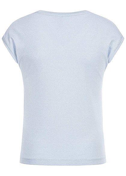 Hailys Kids Mädchen V-Neck Lurex T-Shirt Streifen Muster hell blau silber
