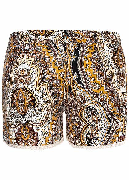 Hailys Kids Mädchen Viskose Sommer Shorts Tunnelzug Paisley Print beige gelb