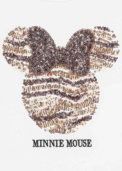 Hailys Kids Mädchen T-Shirt Minnie Mouse Pailletten weiss kupfer