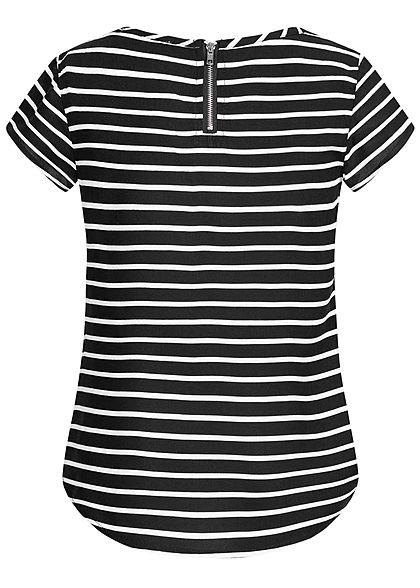 Hailys Kids Mädchen T-Shirt Streifen Muster Zipper hinten schwarz weiss
