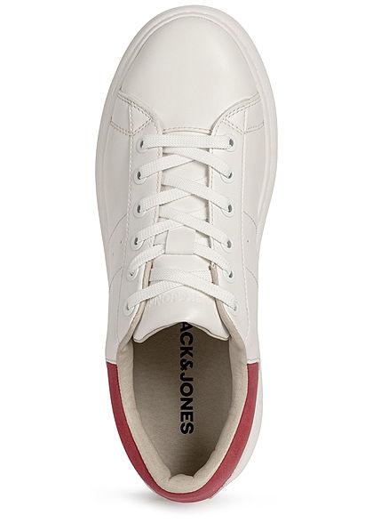Jack and Jones Herren 2-Tone Kunstleder Sneaker weiss rot