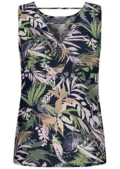 Vero Moda Damen leichtes Blusen Top Tropical Print Rückenausschnitt night navy