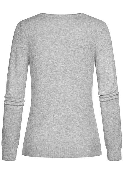 Vero Moda Damen leichte V-Neck Strickjacke mit Knopfleiste hell grau melange