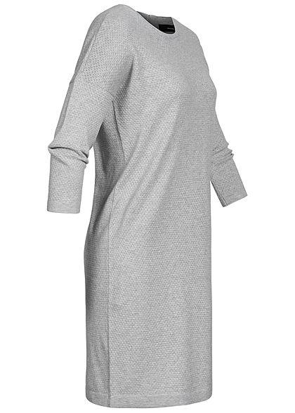 Vero Moda Damen NOOS 7/8 Arm Struktur Strickkleid Zipper Lochmuster hell grau