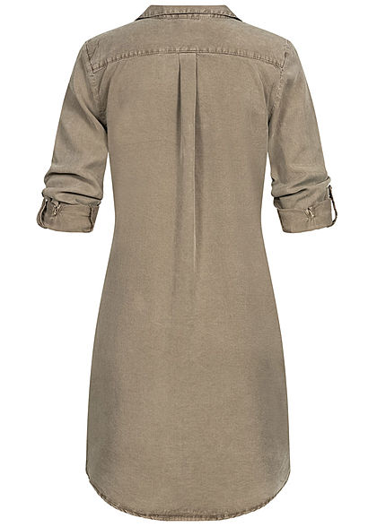 Vero Moda Damen Turn-Up Long Bluse Kleid 4-Pockets bungee cord oliv braun