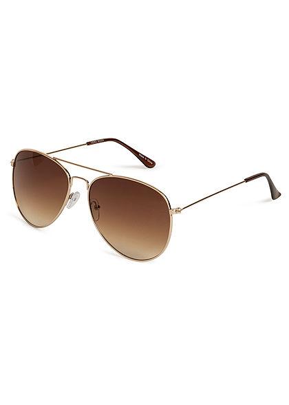Vero Moda Damen NOOS Sonnebrille Pilotenstyle UV- 400 Cat.3 gold braun
