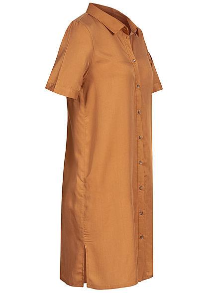 Vero Moda Damen NOOS Mini Kurzarm Blusen Kleid Tunica Seitenschlitze meerkat braun