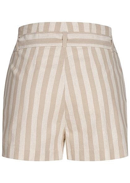ONLY Damen Paperbag Shorts Streifen Muster Knopfleiste Bindegürtel creme beige weiss