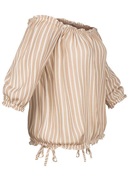 Hailys Damen Off-Shoulder 3/4 Arm Shirt Streifen Muster mit Frill Details beige weiss
