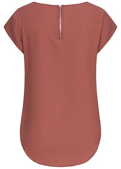 ONLY Damen NOOS Solid Blusen Shirt Struktur Muster Zipper hinten apple butter rot