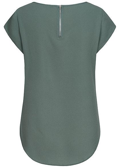 ONLY Damen NOOS Solid Blusen Shirt Struktur Muster Zipper hinten balsam grün