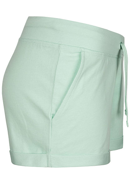 Seventyseven Lifestyle Damen Sweat Shorts Tunnelzug 2-Pockets mint grün
